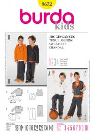 Joggingpak met trainingsbroek en sweater (maat 98-140), Burda 9672