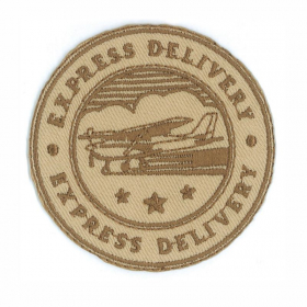 strijk embleem express delivery bruin