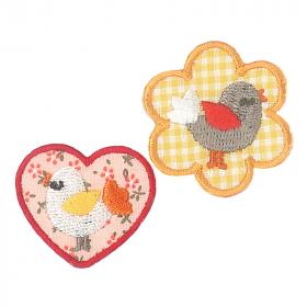strijk embleem 2 birds, 36 x 36 mm en 36 x 30 mm