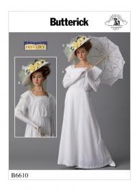 historische jurk en hoed (maat 32-40) Butterick 6610