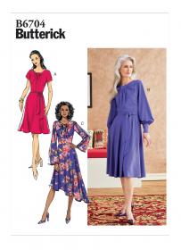 jurk met sjerp (maat 32-40) Butterick 6704