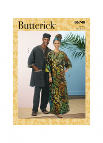 tuniek, kaftan, broek, pet en hoofdsjaal (maat S-M-L) Butterick 6748-XM