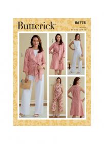 jurk, jumpsuit en jasje met sjerp (maat 44-50) Butterick 6775