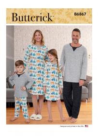 pyjama en nachthemd (maat XS-XL) Butterick 6867