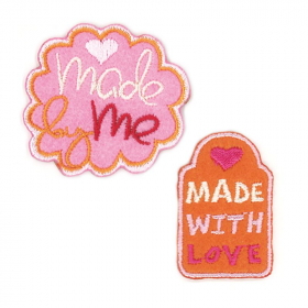 strijk embleem made by me roze oranje