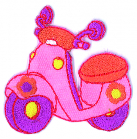 strijk embleem pink scooter