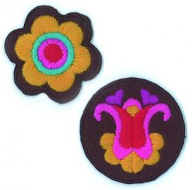strijk embleem folklore 2 flowers