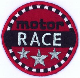 strijk embleem motor race, 60 x 60 mm