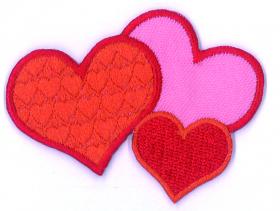 strijk embleem 3 hearts 1, 65 x 47 mm