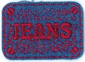strijk embleem jeans red met