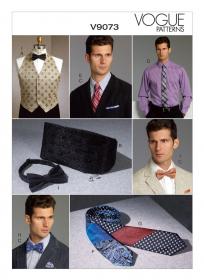 Gilet, cummerband, strikje, vlinderdas, stropdas en pochet (maat S-XXL), Vogue 9073
