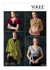 cape, shrug en omslagdoek (maat 34/36-38/40-42/44) Vogue 9291